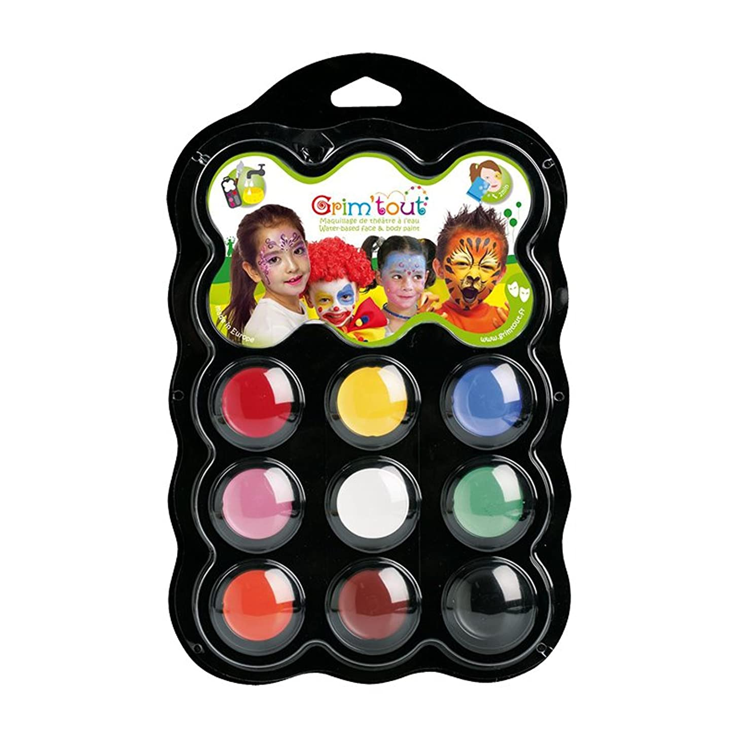 Grim'Tout 9 Color Carnival Face Painting Kit