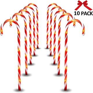 MAOYUE Candy Cane Lights, 10 Pack Outdoor Lighted Candy Canes 27in Christmas Pathway Lights with 8 Lighting Modes, Waterproof Candy Cane Decorations, Light Up Outdoor Christmas Decorations