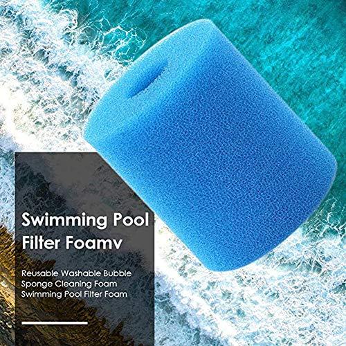 URFEDA Schwimmbad Filter Schwamm,Filterschaum Filterschwamm für Intex H Typ Filterkartuschen,Pool Filter Filterschwamm Schaumstoff Waschbar Wiederverwendbar Schaumpatronenschwamm,Blau
