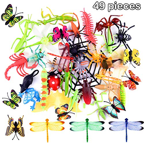 TUPARKA 49 PCS Plastic Insect Toys Bugs Figure Toys Surtido de Insectos realistas Butterfly Beetle Dragonfly Modelo Gag Juguetes para niños Insectos Party Bag Fillers Favores Juguetes Educativo