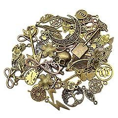 Mila-Amaz 100 Pcs Surtidos Steampunk Cogs Metal Colgante Cogs Engranajes Steampunk para Manualidades, joyería, Mixed Colours #1