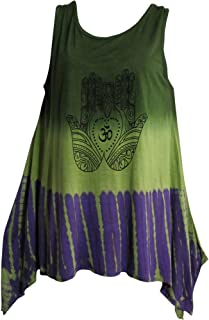 Indian Art Henna Om Yoga Spandex Tie-Dye T-Shirt Tank Top Cami Green/Purple