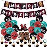 Squid Game Birthday Party Supplies Decoration Set Masked Man Abdul Ali Round Six Balloons Banner Cake Topper Cupcake Toppers 32pcs