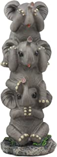 Ebros Pachyderm Friends Funny See Hear Speak No Evil Elephants Totem Statue 10.5