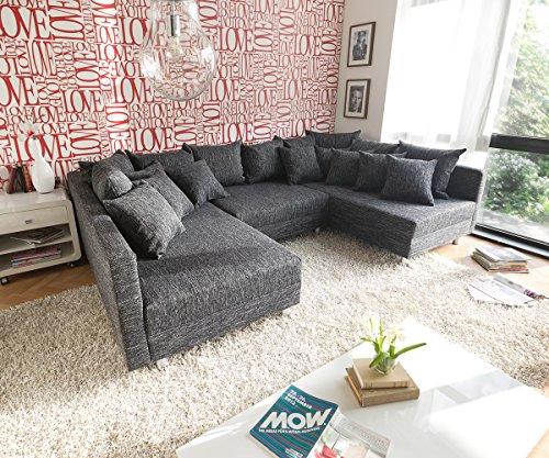 DELIFE Couch Clovis Schwarz Strukturstoff mit Hocker Wohnlandschaft modular