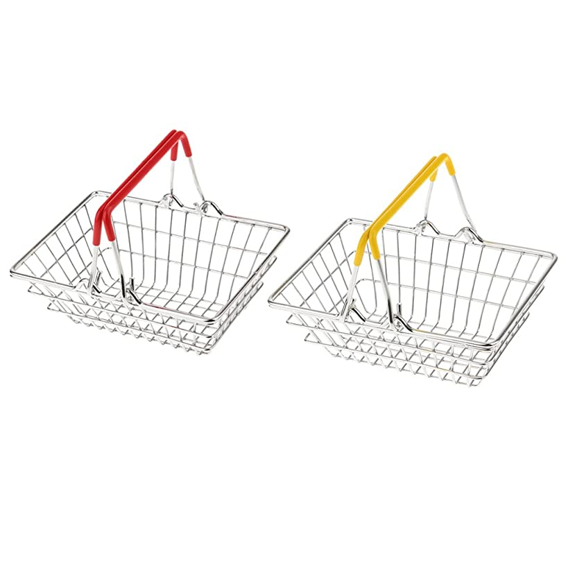 Baoblaze 2 Pcs Mini Metal Shopping Hand Basket Children Early Learnig Role Play Game Toy Gifts
