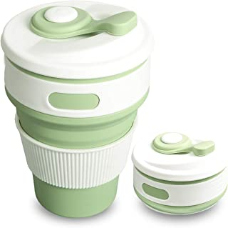 SUPSOO Portable Silicone Collapsible Cup, 350ML Camping Cups Drinking Mug with Lid, -58~392℉, Lightweight/Leakproof/Anti-Scald, for Hiking, Camping, Picnic (Pale Green)