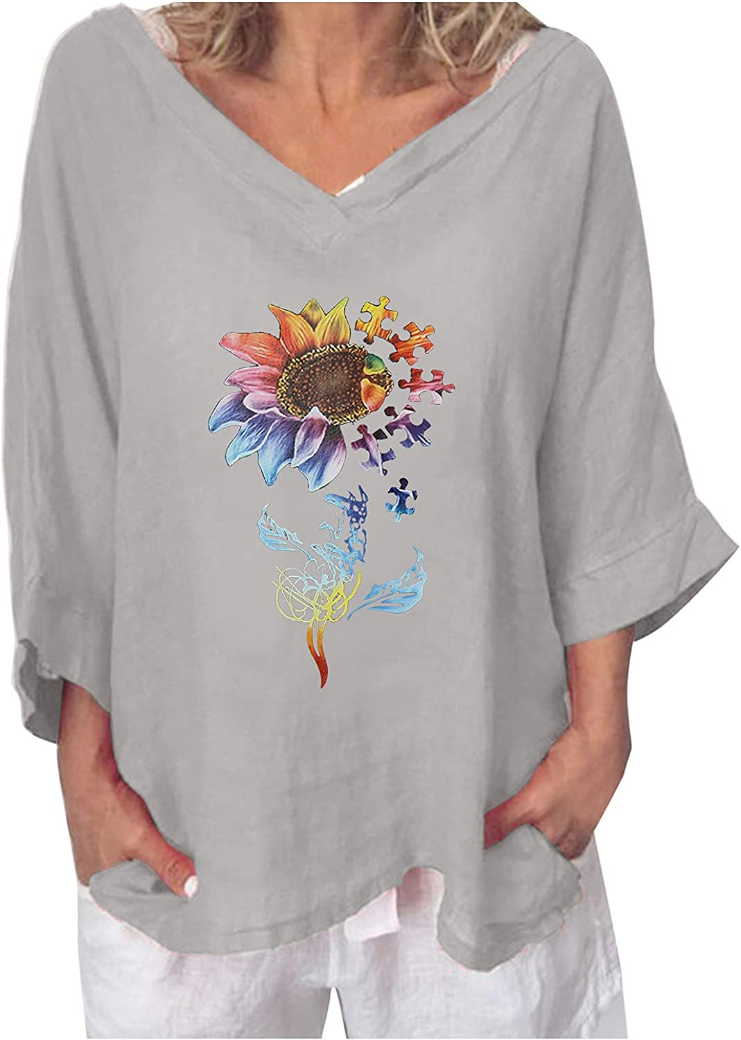Al sold out. BFSAUHA Women's Casual V Neck Shirts Bell Super intense SALE P 3 Sleeve 4 Butterfly