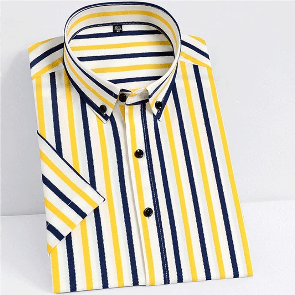 OFFicial mail order TJLSS Men's Summer Short Sleeve Striped specialty shop Fabric Pock Silky Shirts