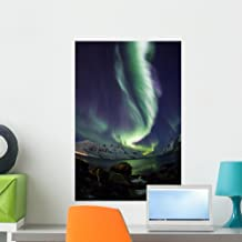 Wallmonkeys WM362471 Aurora Borealis Reflected Between Fjords in Tromso Peel and Stick Wall Decals (24 in H x 16 in W), Me...