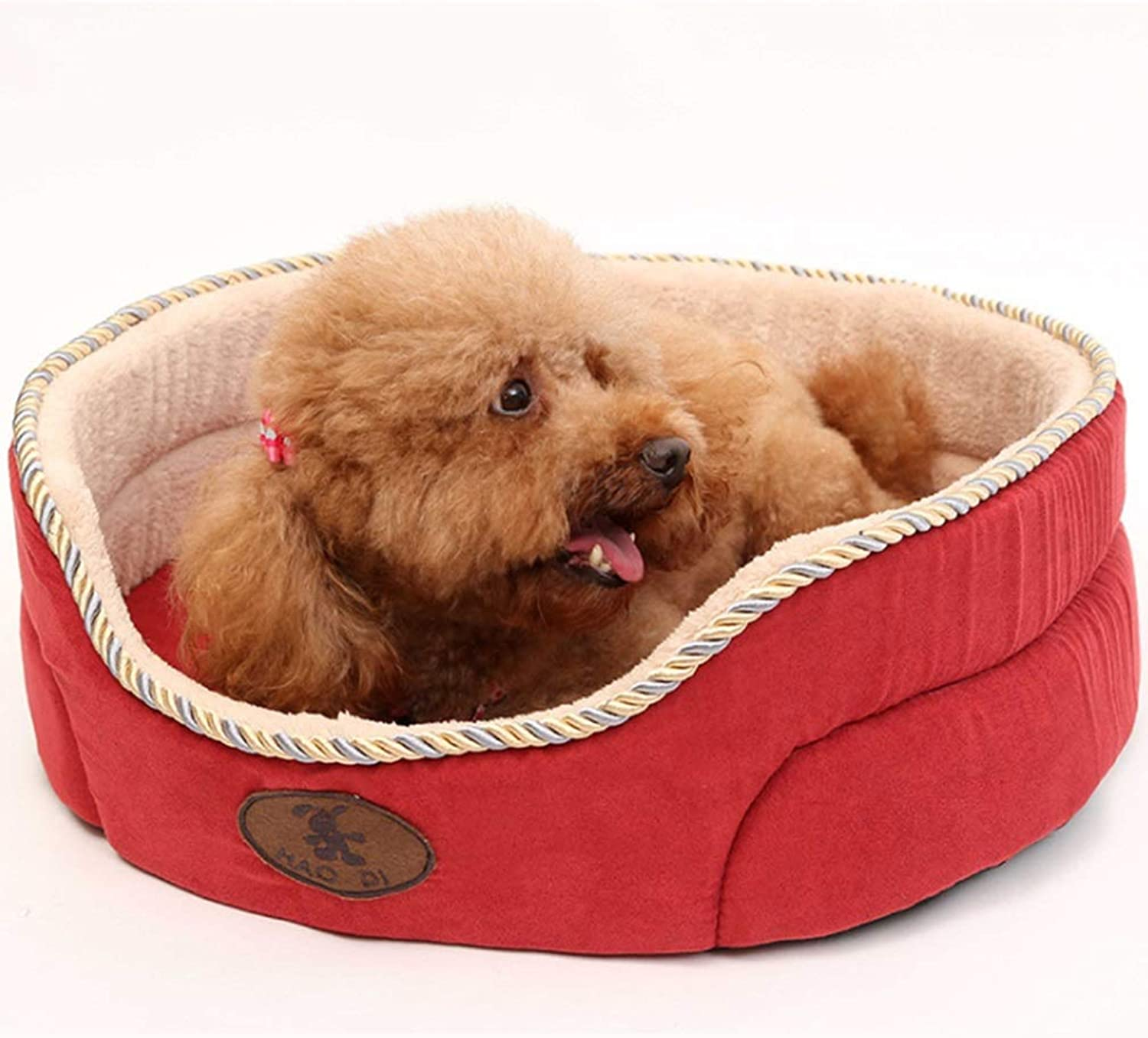 RABILTY Suede Washable Kennel Round Nest Cat Litter Pet Supplies Small and MediumSized Dogs Spring and Autumn Use (color   Red, Size   S)