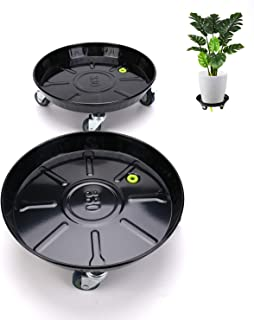 "Abetree 2 Pack 13.6"" Metal Plant Caddy with Locking Wheels Heavy Duty Round Flower Pot Mover Indoor Rolling Planter Dolly on Wheels Outdoor Planter Stand with Drainage Hole and Tray, Black"