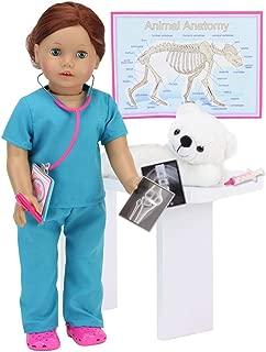 Smithsonian Veterinarian Polar Bear Set for Dolls | 9 Piece Vet Set Sized for 18 in Dolls Includes Polar Bear, Scrubs, Stethoscope, X-Rays, Syringe and More