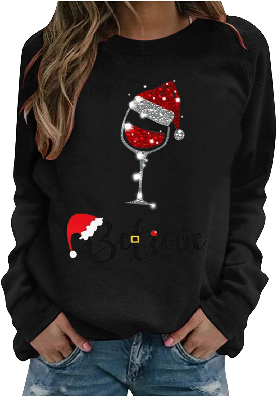 Eoailr 2021new shipping free shipping Now free shipping Chirstmas Sweatshirt Women Printed Cre Sleeve Shirts Long
