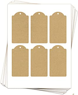 60 Printable Kraft Cardstock Domed Rectangle Hang Tags with Holes, 2.375 x 4.25 Inches, Two-Sided …