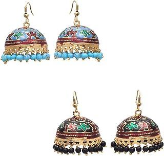 Geode Delight Gold Plated Meenakari Pearl Enamel Jhumki Combo Earring for Women