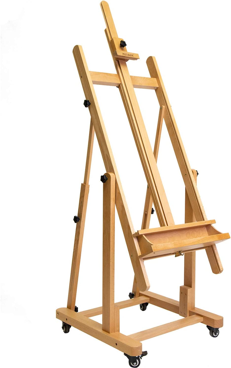 """MEEDEN Extra Large Heavy-Duty H-Frame Studio Easel - Versatile Solid Beech Wood Artist Professional Easel, Adjustable Painting Art Easel Stand with 4 Premium Locking Silent Caster Wheels, Hold Max 82"""" : Arts, Crafts & Sewing"""