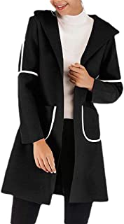 Womens Hooded Thin Stripe Patchwork with Pocket Long Sleeve Open Front Coat Outwear Overcoats