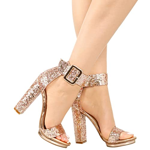 1b11cee9f Love Mark Womens Open Toe Buckle Ankle Strap Cuff Platform Chunky Heel Pump  Sandal