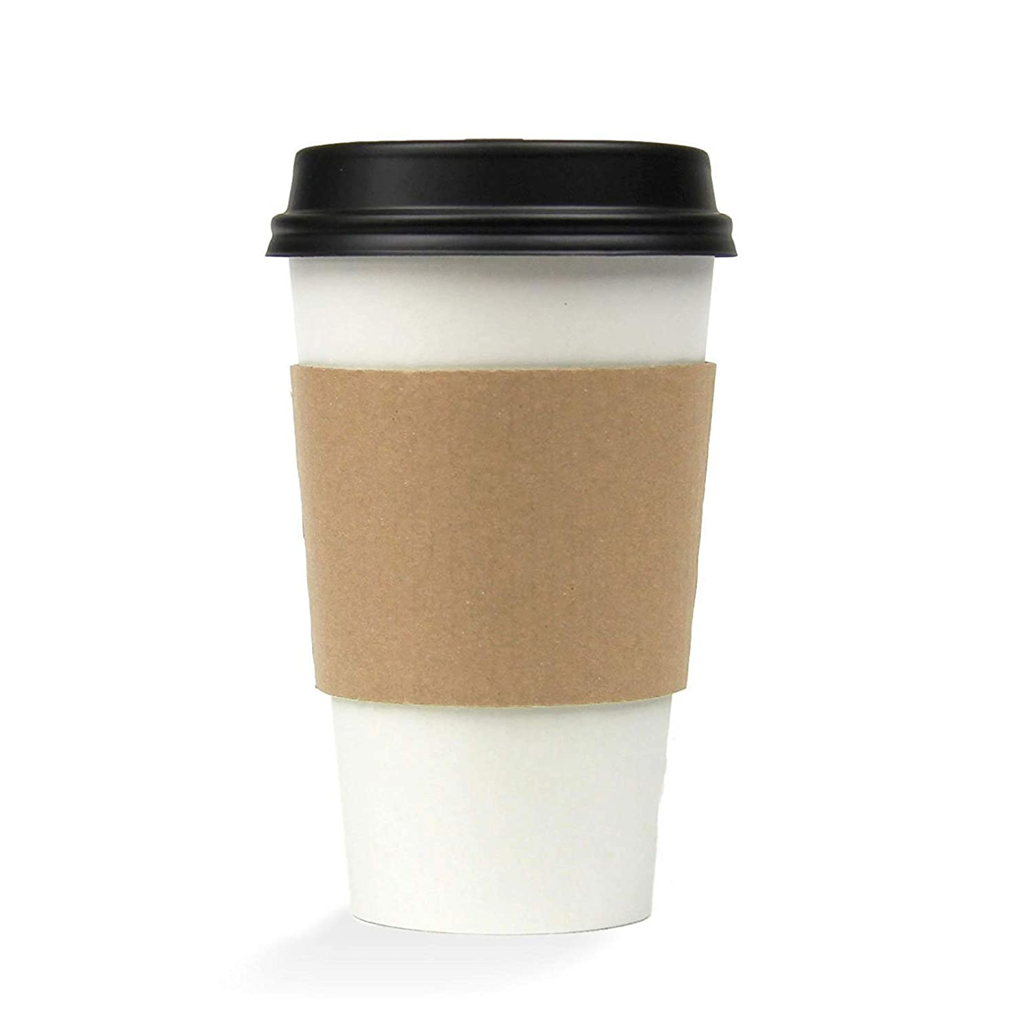 16 OZ Hot Beverage Disposable White Paper Coffee Cup with Black Dome Lid and Kraft Sleeve Combo, Medium Grande [50 Pack]