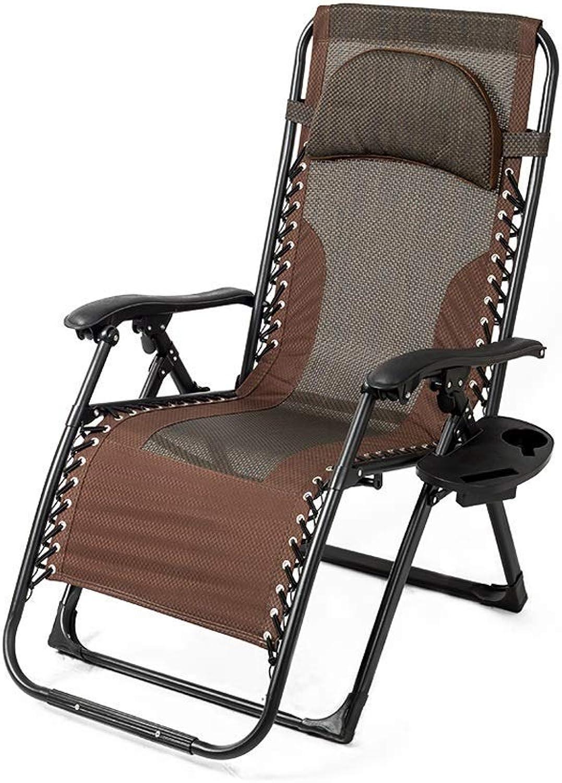 1949shop Klappbarer Lehnstuhl, Büro-Lazy-Rückenlehnenstuhl Home Lazy Cool-Multifunktionsstuhl 65 × 69 × 115 cm, braun