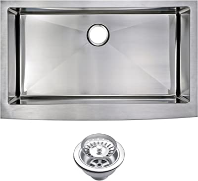 "Water Creation SSS-AS-3622B 36"" X 22"" 15 mm Corner Radius Single Bowl Stainless Steel Hand Made Apron Front Kitchen Sink with Drain and Strainer Premium Scratch Resistant Satin Stainless Steel"