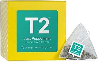 T2 Tea Just Peppermint Herbal Tea Bags in Box, 25-Count