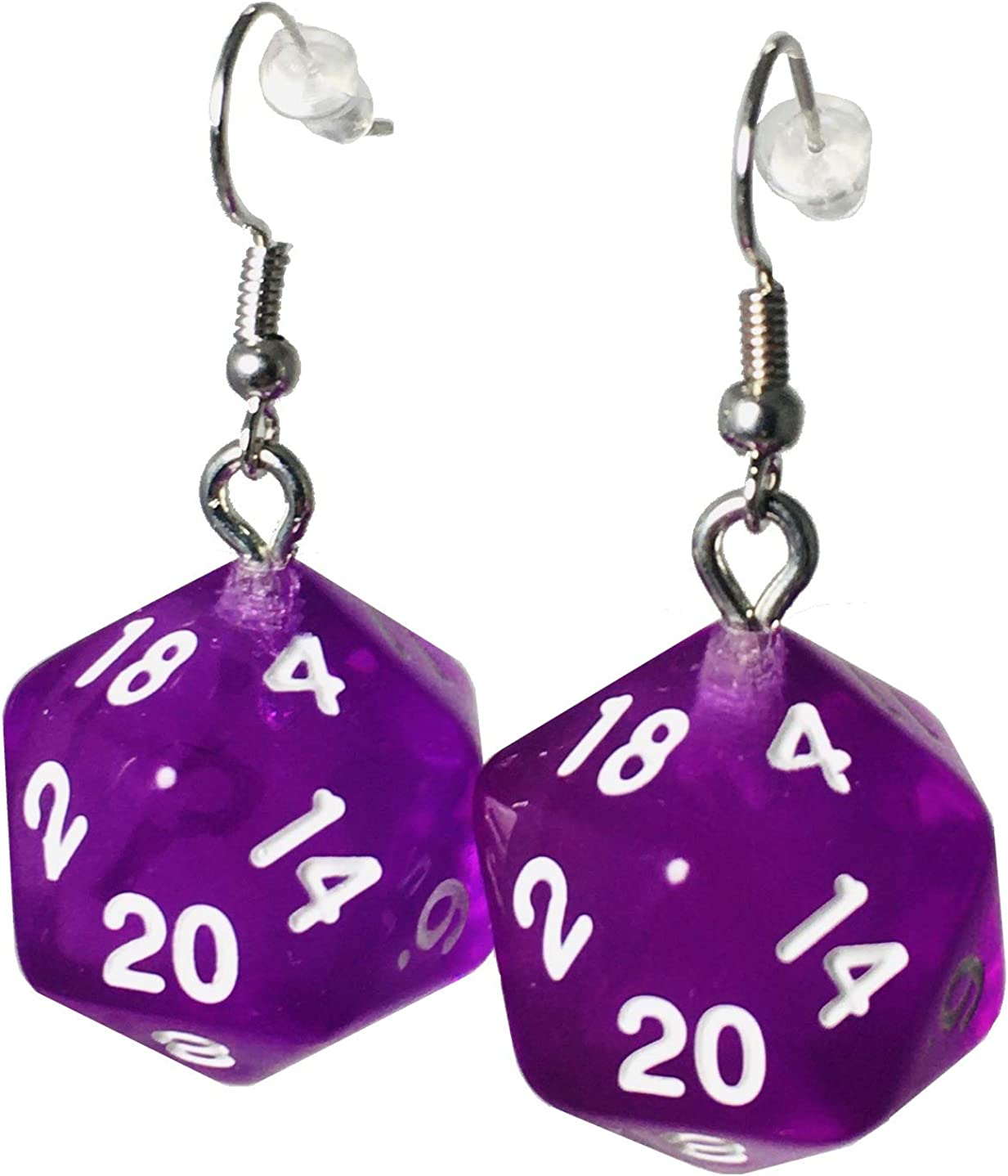 d20 Dice Earrings Translucent (6 Colors Available) - Hook with Earnuts