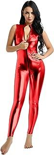 ACSUSS Womens Mock Neck Sleeveless Zipper Up Faux Leather Bodysuit Lingerie Clubwear