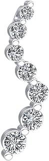 18k Gold Pendant For Women 1Cttw Natural Diamond (FG Color, VS2 Clarity) Princess Cut 7Stone Journey Pendant Necklace