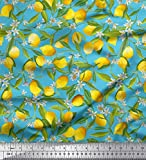 Soimoi Blau Poly Georgette Stoff Blätter, Blumen und