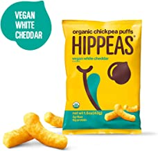 Hippeas Organic Chickpea Puffs + Vegan White Cheddar, Vegan, Gluten-Free, Crunchy, Protein Snacks, 1.5 Ounce, Pack of 12