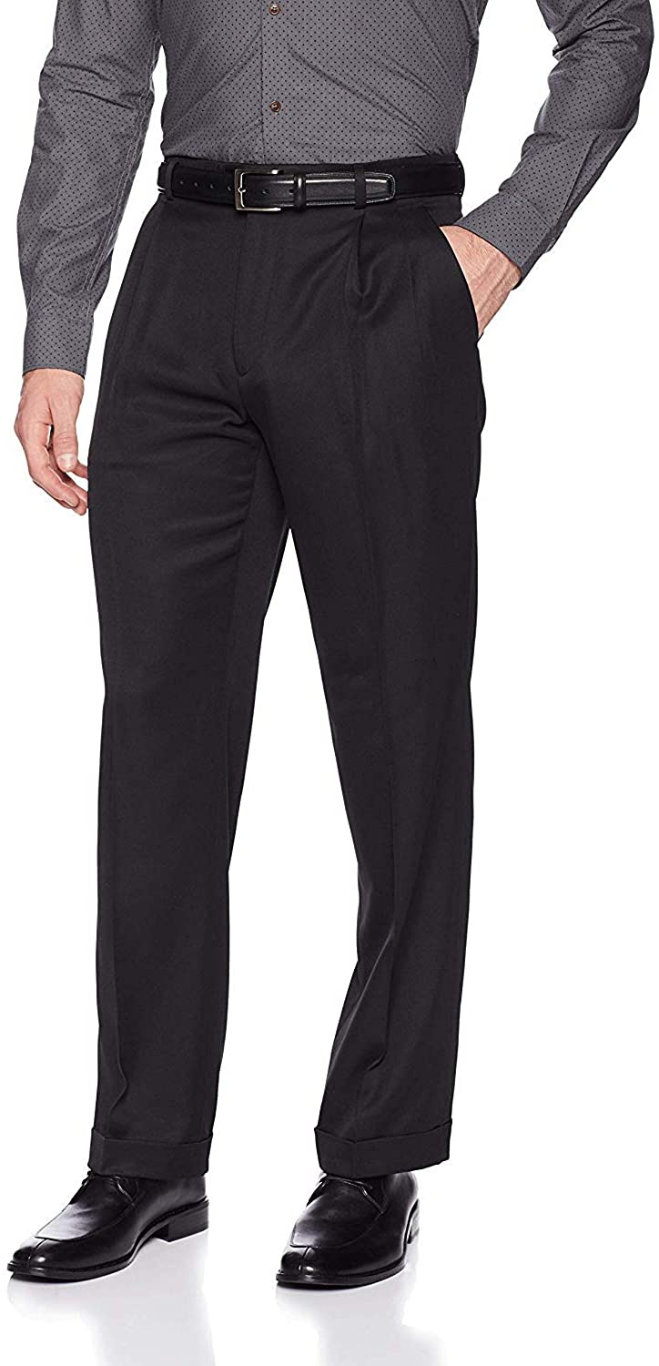 Perry Ellis Men's Classic Fit Elastic Waist Double Pleated Cuffed Pant