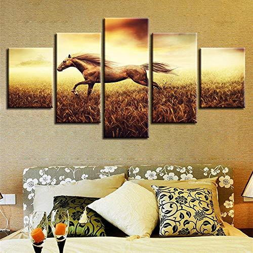 MyWheelieBin Cuadro moderno con impresión de animales, decoración para salón, pared, 5 piezas, carreras de caballos, paisaje, pintura en lienzo modular