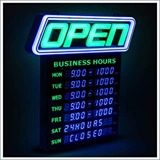 GLI Led Open Sign with Business Hours – Stand Out with 1000's Color Combos to Match Your Brand, – Neon Flash, or Scroll – Programmable App, 15 x 16.5 inch