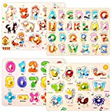 Wooden Peg Puzzles Set for Toddlers 3 4 Years Old, Alphabet ABC, Numbers and Farm Animals Learning Puzzles Board for Kids, Preschool Educational Pegged Puzzles Activity Toys Gift for Boys Girls