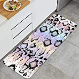 Alfombra de Cocina Antideslizante,Textura de Piel de Serpiente Color rombo geométrico,Estera de Cocina Felpudos Decorativo Alfombra para Dormitorio Baño Pasillo 45 x 120cm