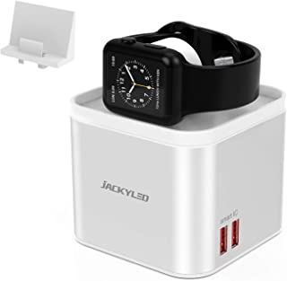 JACKYLED iWatch Charger Stand for Apple iWatch Series 1-5, Detachable Wireless Charging Pad for iPhone 11/X/XS and Samsumg S10/9, Charging Station with 5 USB Ports and Phone Holder for Multi Devices