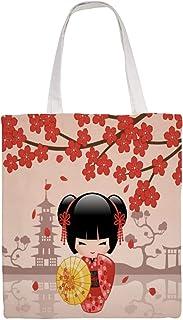 Tamengi Einkaufstasche aus Segeltuch, rote Sakura-Kokeshi-Puppe, japanische Geisha-Puppe, wiederverwendbare Einkaufstasche, waschbar und umweltfreundlich, Schultertaschen mit Griffen, 38,1 x 40,6 cm