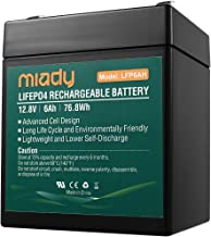 2000 Cycles Miady Lithium Iron Phosphate Battery 12V 6Ah, Rechargeable LiFePo4 Battery, Low Self-discharge and Light Weight, Fios Replacement Battery