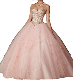 65f4af7dca Dydsz Women s Quinceanera Prom Dresses Beaded Sweet 16 Ball Gown 2 Piece  2019 with Sleeves D203