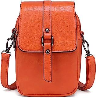 myfriday Vintage Umhängetasche für Damen Kleine Schultertasche Handtasche Messenger Bag Handytasche mit 2 Haupttaschen & K...