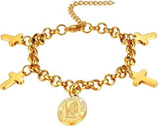 FaithHeart Saint Christopher Necklace Bracelet, Stainless Steel/Gold Plated Catholic Patron St Medal Pendant Jewelry Traveler Medallion Necklace, Customize Available (Send Gift Box)