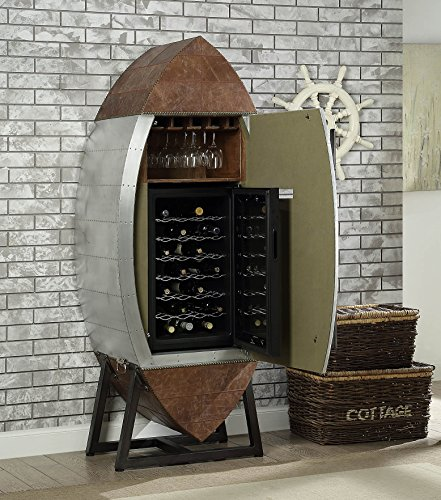 ACME Brancaster Retro Brown and Aluminum Wine Cooler Cabinet