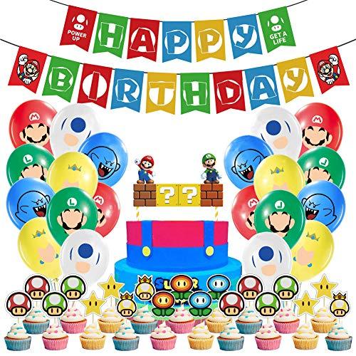 WENTS Super Mario Decoración para Fiestas de Cumpleaños con Globos Banderín Feliz Cumpleaños Tarjetas de Tarta Adornos de Casa para Fiestas