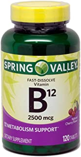 Spring Valley Sublingual B12, Cherry Flavor, 2500 mcg, 120 ct Microlozenges