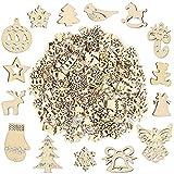 Pllieay Lot de 250 petites tranches de bois faites à la main pour décorations de Noël, loisirs créatifs et fabrication de...