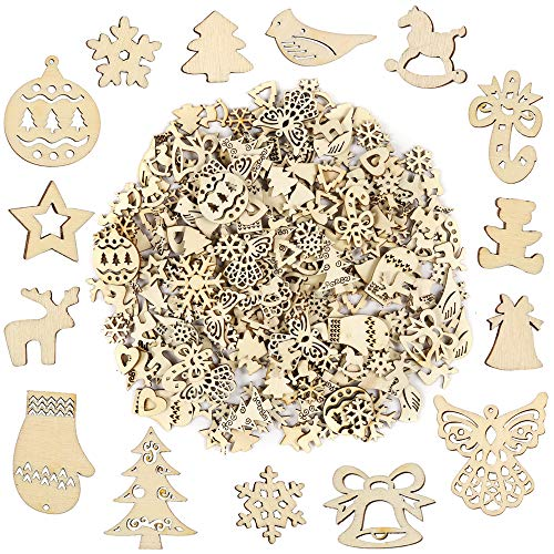 Pllieay 250 Pieces Wooden Slices, Mix Different Shapes Small Handmade Christmas Series Embellishments Ornaments for Christmas Decorations, DIY Party Craft and Card Making