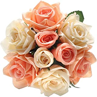 Artificial Fake Flowers Silk Plastic Artificial Roses 9 Heads Bridal Wedding Bouquet for Home Garden Party Wedding Decoration (Coral)