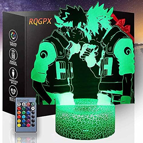 Luz de noche 3D para niños juguetes Uzumaki Naruto D 16 colores cambio automático interruptor táctil decoración escritorio lámparas regalo cumpleaños con control remoto